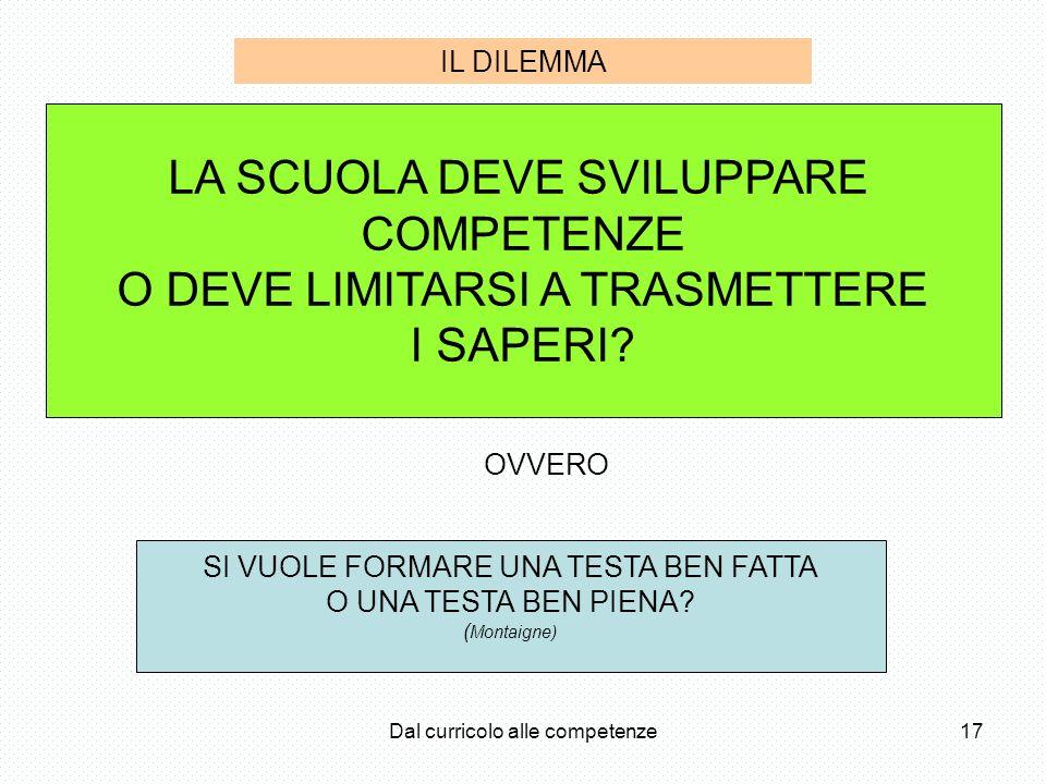 LA SCUOLA DEVE SVILUPPARE COMPETENZE O DEVE LIMITARSI A TRASMETTERE