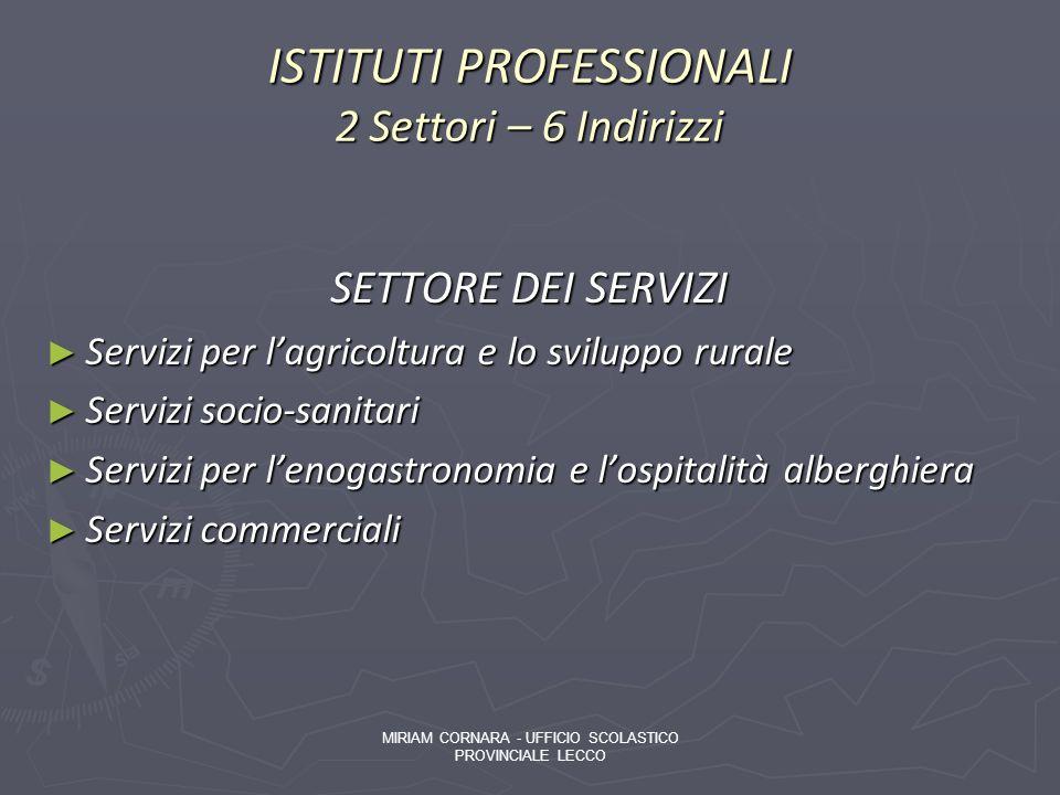 ISTITUTI PROFESSIONALI 2 Settori – 6 Indirizzi