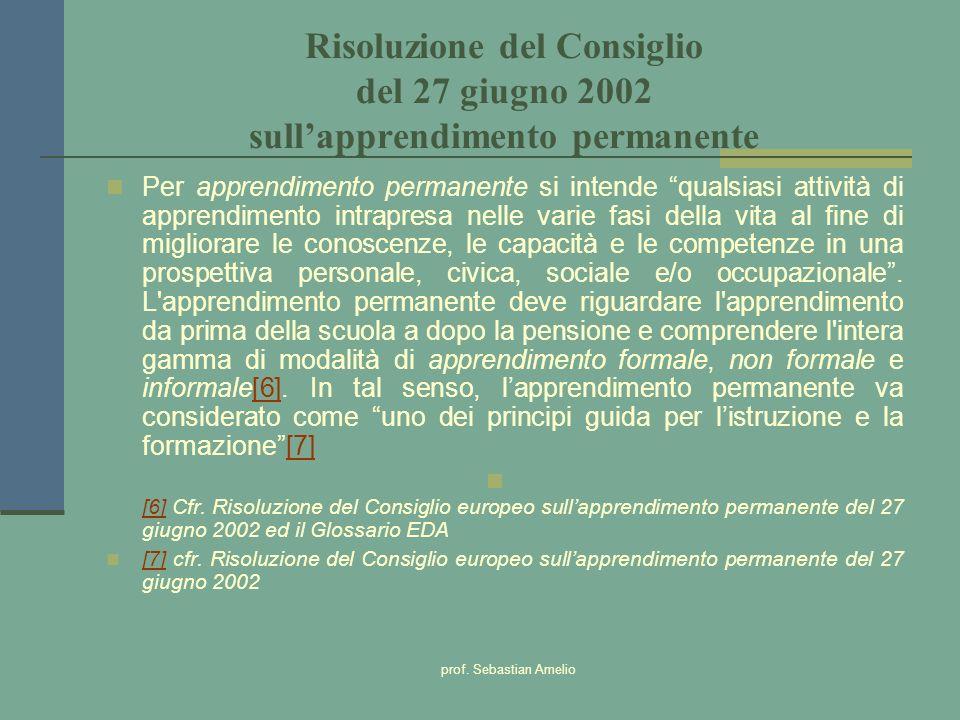 Risoluzione del Consiglio del 27 giugno 2002 sull'apprendimento permanente