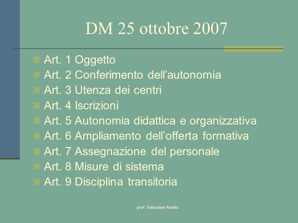 DM 25 ottobre 2007 Art. 1 Oggetto Art. 2 Conferimento dell'autonomia