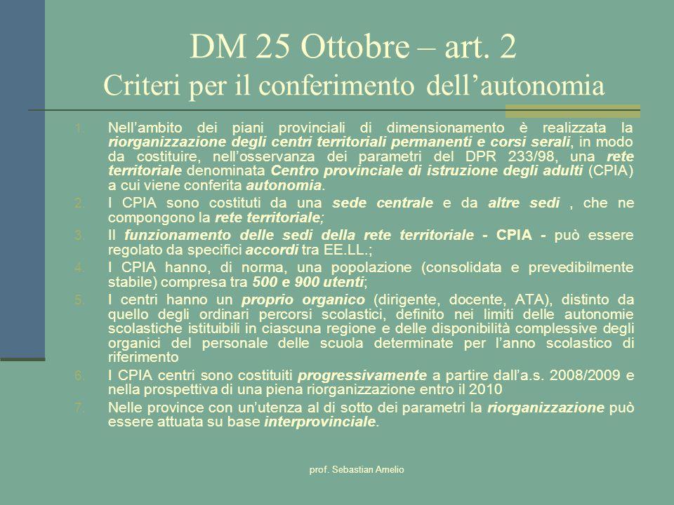 DM 25 Ottobre – art. 2 Criteri per il conferimento dell'autonomia