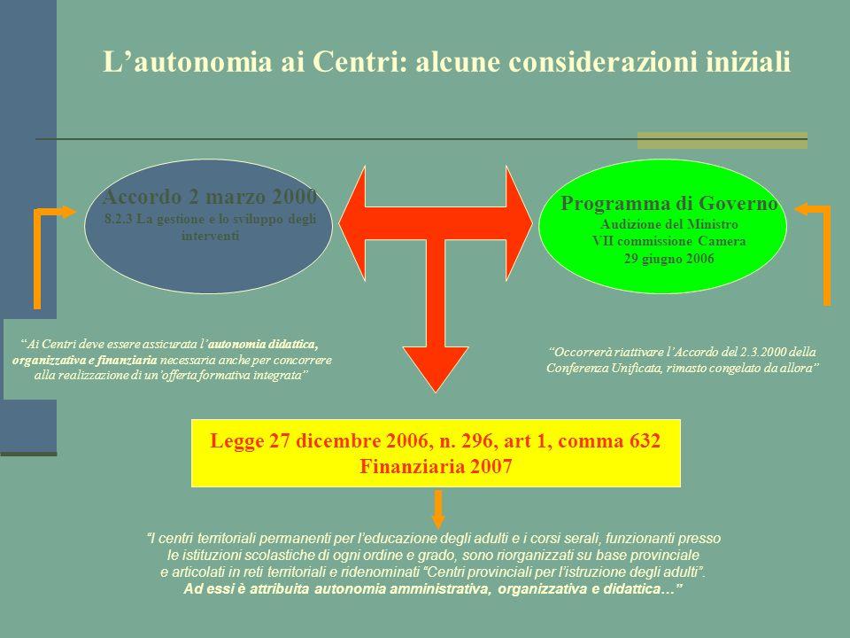 L'autonomia ai Centri: alcune considerazioni iniziali