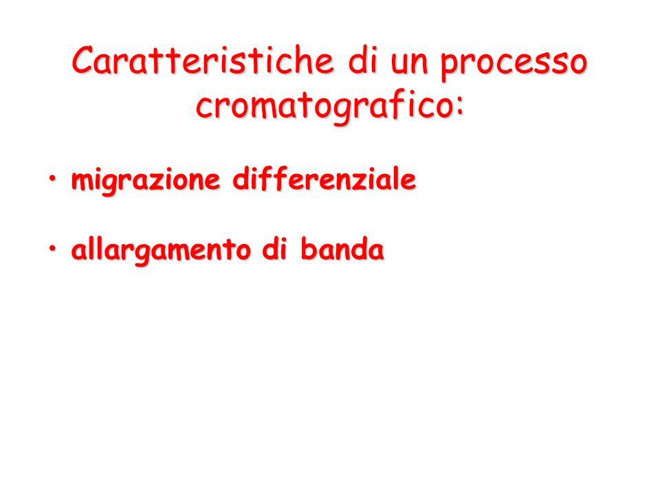 Caratteristiche di un processo cromatografico: