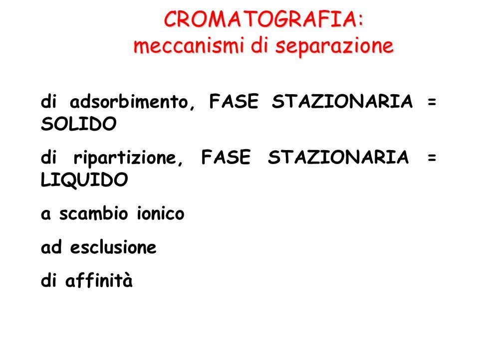 CROMATOGRAFIA: meccanismi di separazione