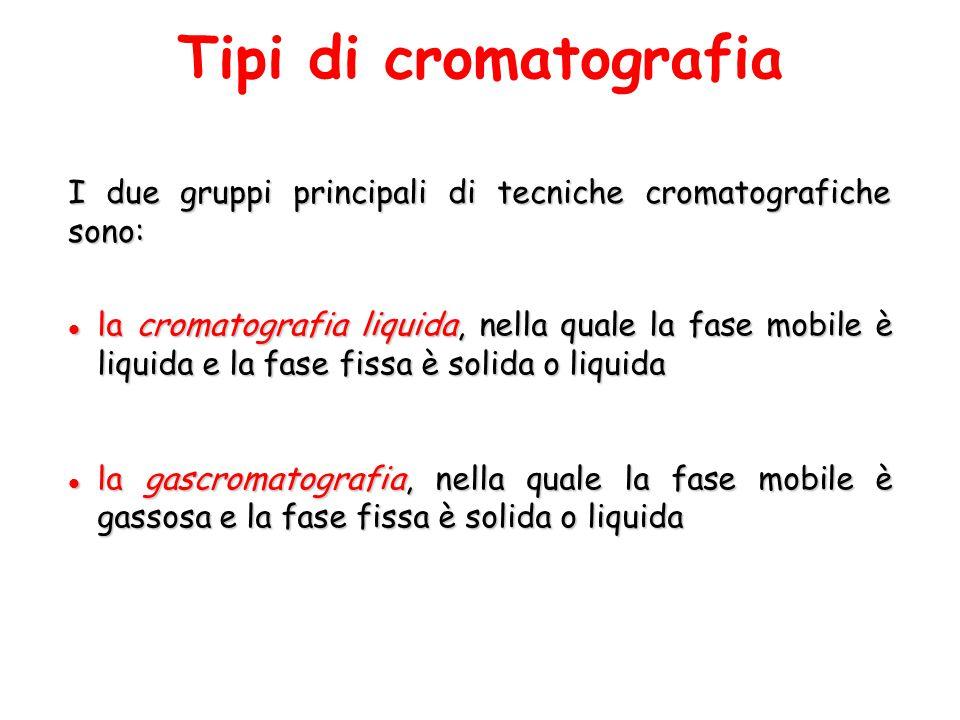 Tipi di cromatografia I due gruppi principali di tecniche cromatografiche sono: