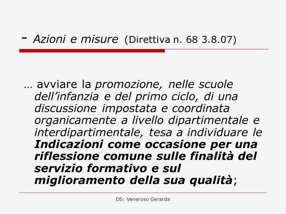 - Azioni e misure (Direttiva n. 68 3.8.07)