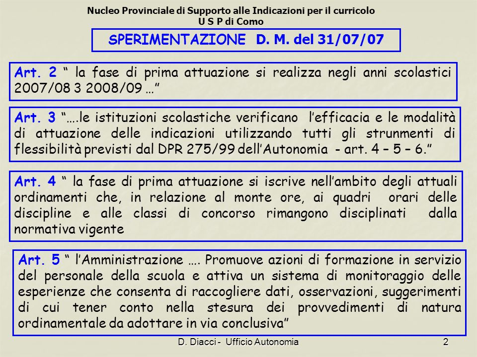 SPERIMENTAZIONE D. M. del 31/07/07