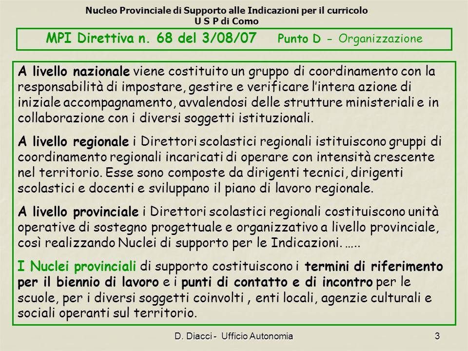 MPI Direttiva n. 68 del 3/08/07 Punto D - Organizzazione