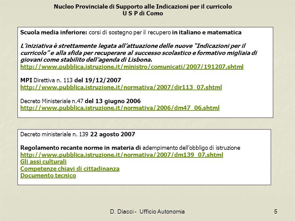 D. Diacci - Ufficio Autonomia
