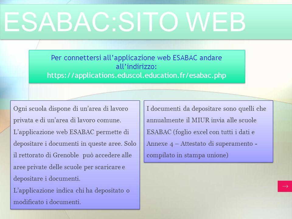 Per connettersi all'applicazione web ESABAC andare all'indirizzo:
