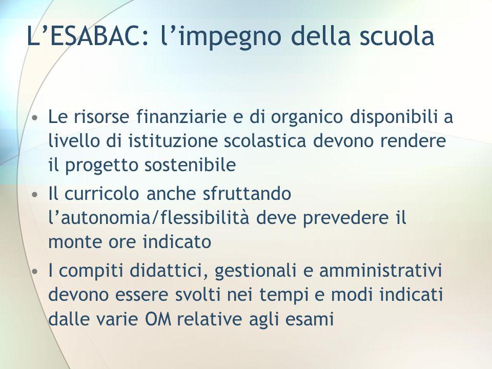 L'ESABAC: l'impegno della scuola