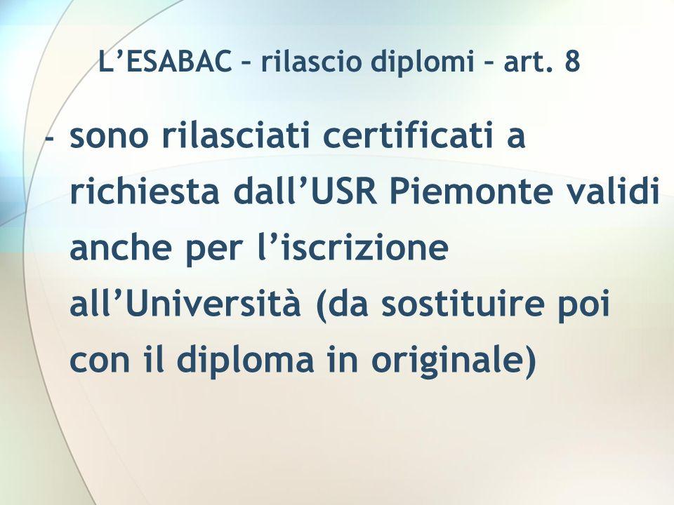 L'ESABAC – rilascio diplomi – art. 8