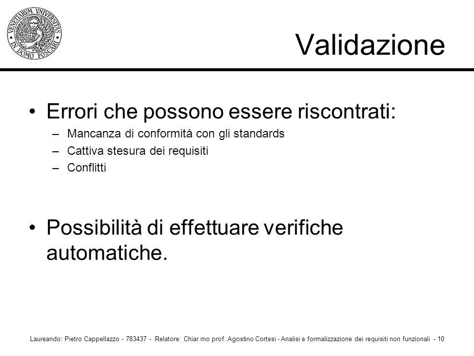 Validazione Errori che possono essere riscontrati: