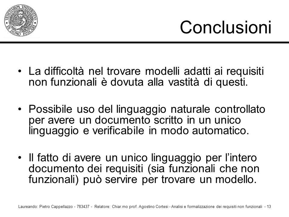 Conclusioni La difficoltà nel trovare modelli adatti ai requisiti non funzionali è dovuta alla vastità di questi.