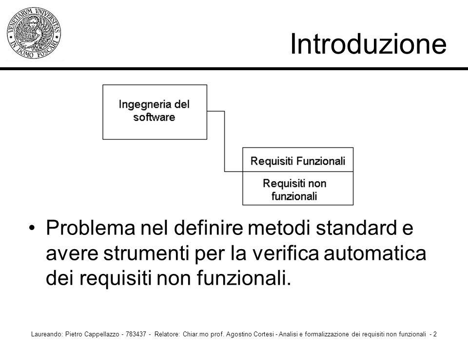 Introduzione Problema nel definire metodi standard e avere strumenti per la verifica automatica dei requisiti non funzionali.