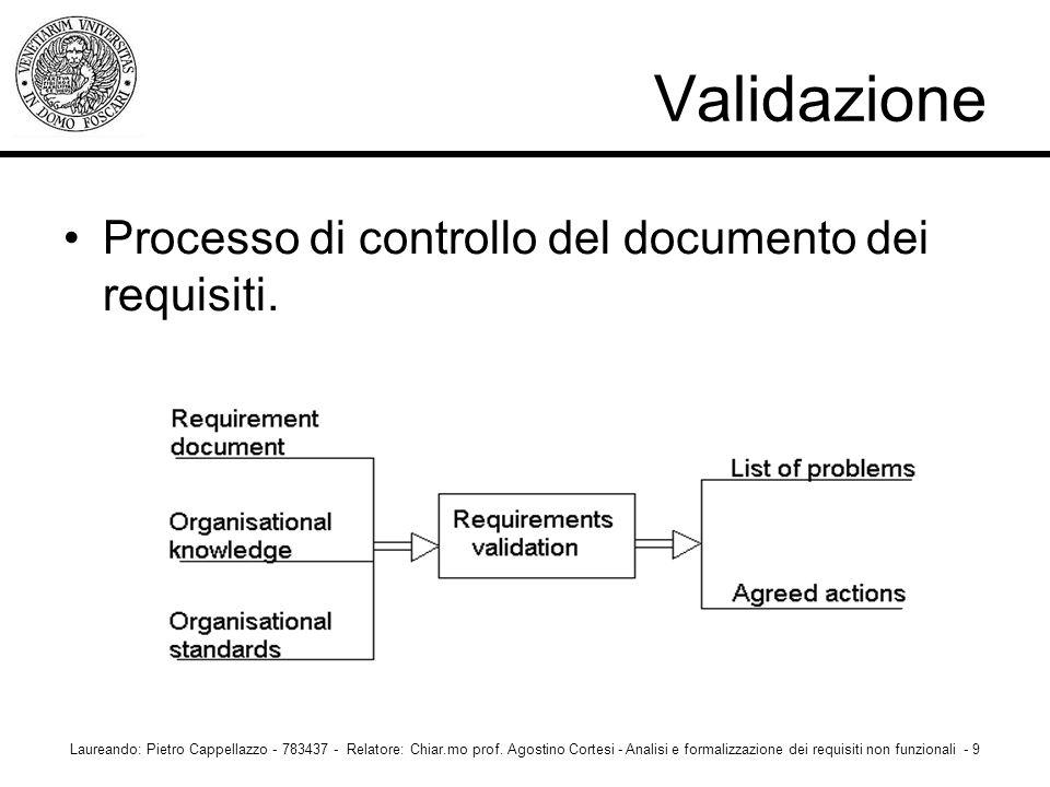 Validazione Processo di controllo del documento dei requisiti.