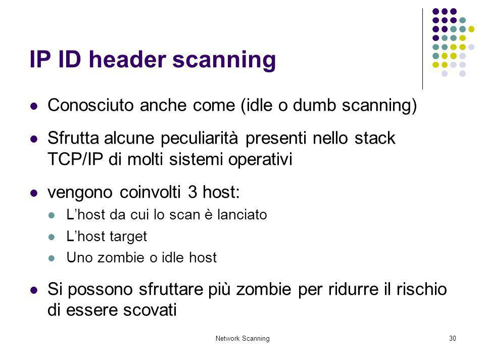 IP ID header scanning Conosciuto anche come (idle o dumb scanning)