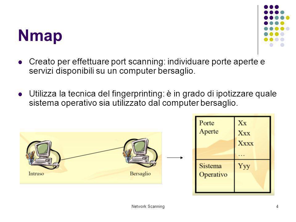 Nmap Creato per effettuare port scanning: individuare porte aperte e servizi disponibili su un computer bersaglio.