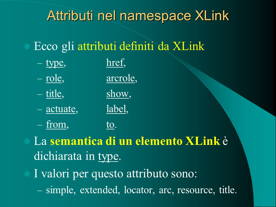 Attributi nel namespace XLink