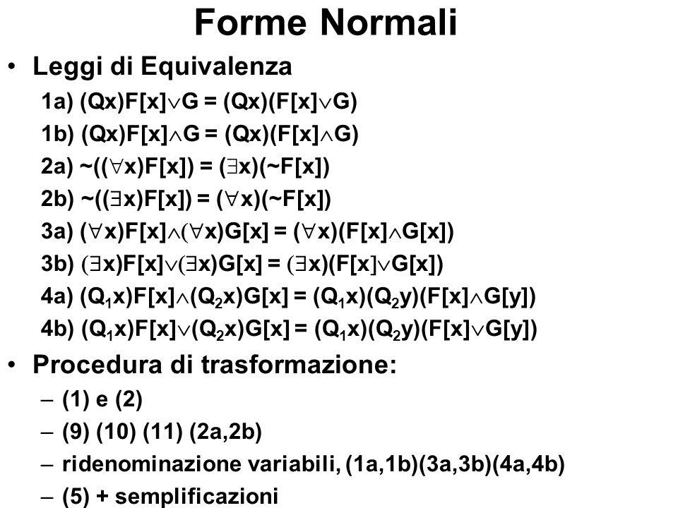 Forme Normali Leggi di Equivalenza Procedura di trasformazione: