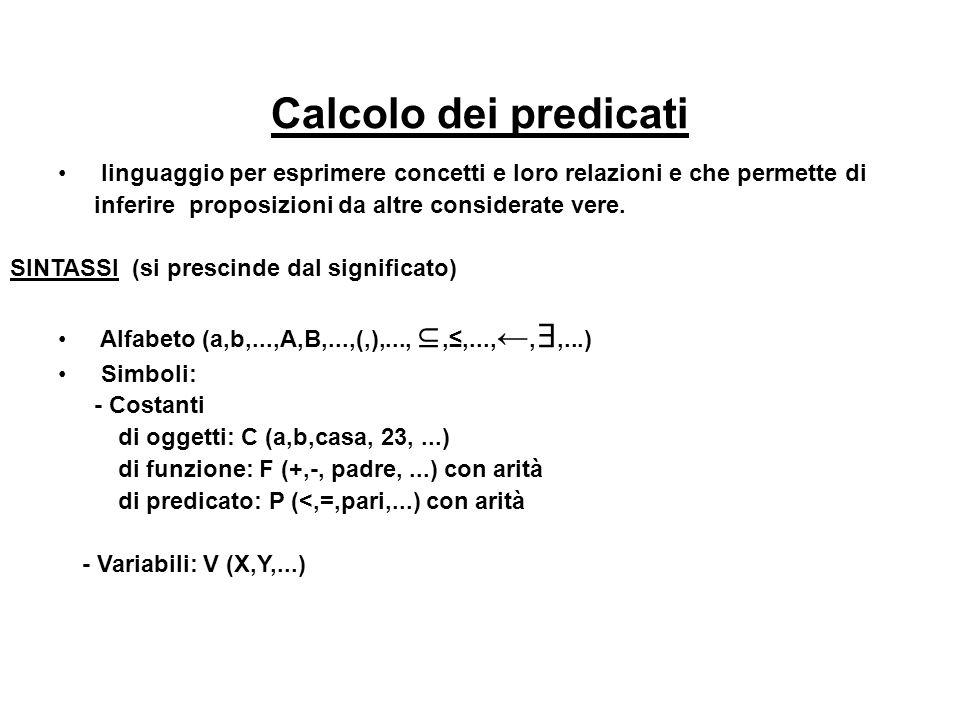 Calcolo dei predicati linguaggio per esprimere concetti e loro relazioni e che permette di inferire proposizioni da altre considerate vere.