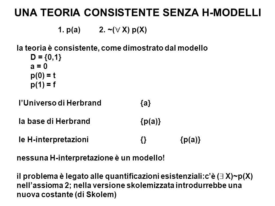 UNA TEORIA CONSISTENTE SENZA H-MODELLI