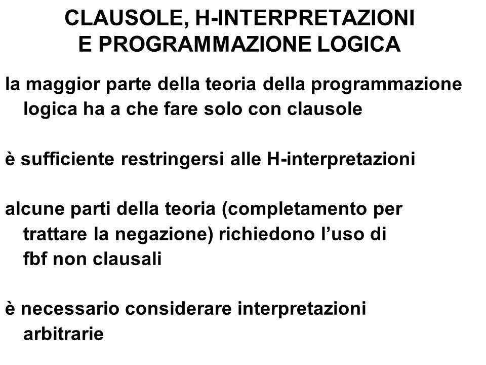 CLAUSOLE, H-INTERPRETAZIONI E PROGRAMMAZIONE LOGICA