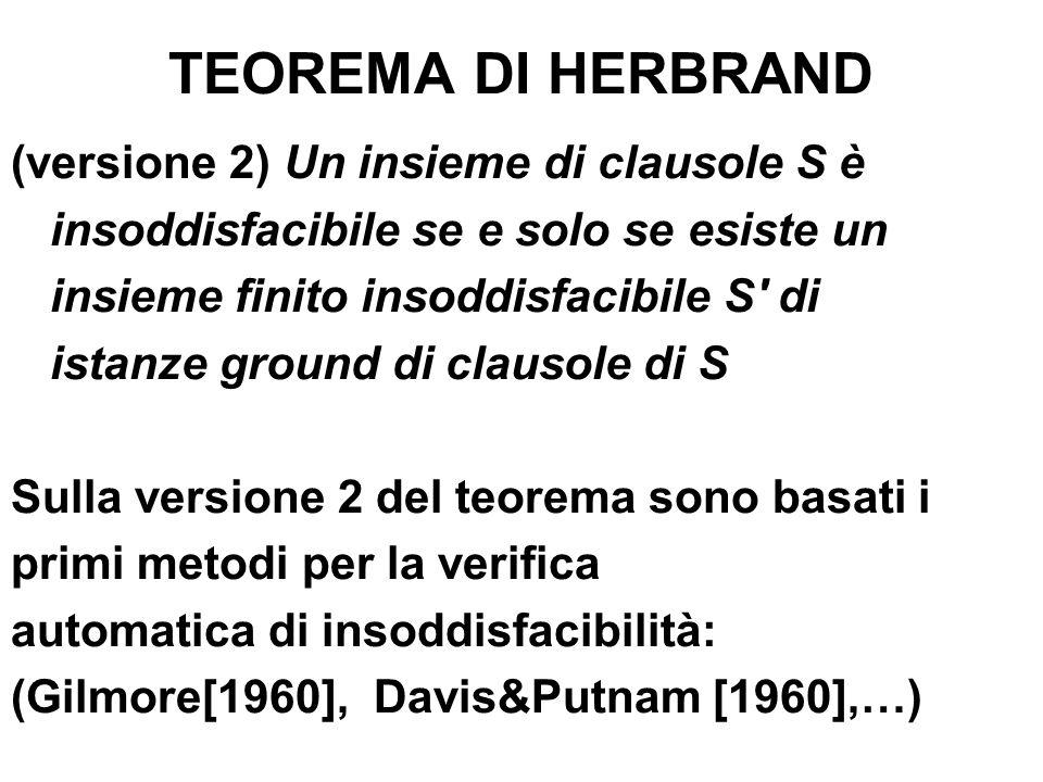 TEOREMA DI HERBRAND (versione 2) Un insieme di clausole S è