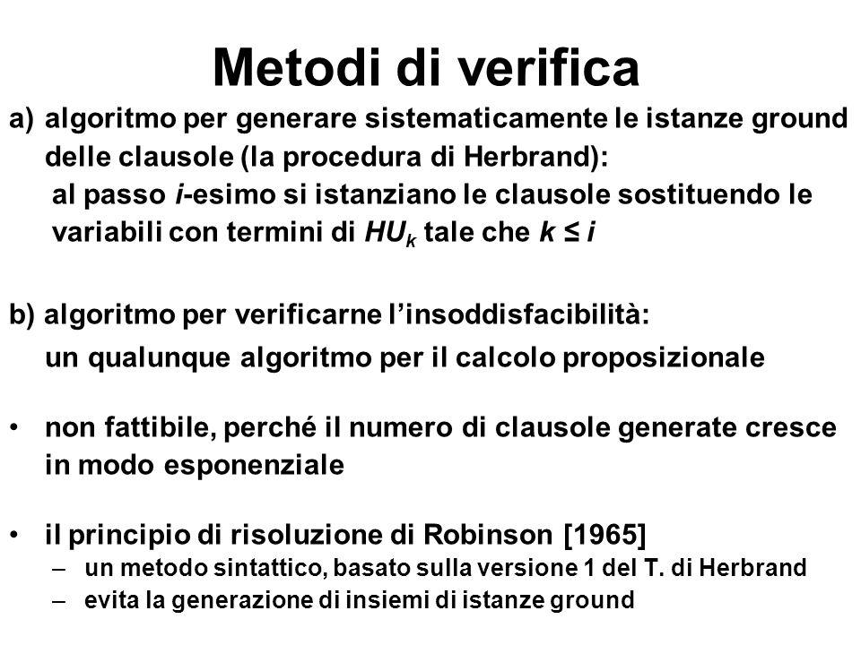 Metodi di verifica algoritmo per generare sistematicamente le istanze ground. delle clausole (la procedura di Herbrand):