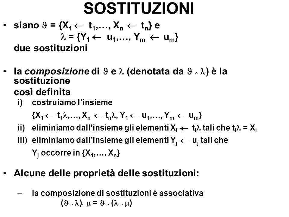SOSTITUZIONI siano J = {X1 ¬ t1,…, Xn ¬ tn} e l = {Y1 ¬ u1,…, Ym ¬ um}