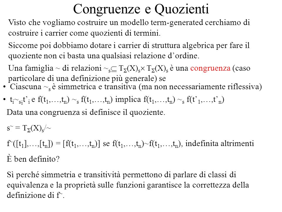 Congruenze e Quozienti