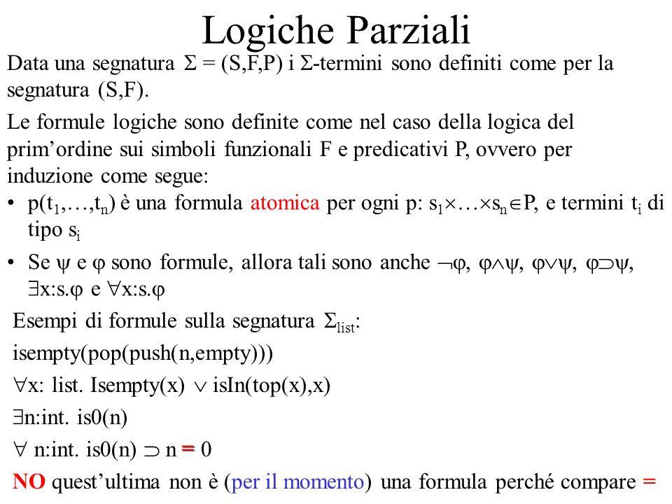 Logiche Parziali Data una segnatura S = (S,F,P) i S-termini sono definiti come per la segnatura (S,F).