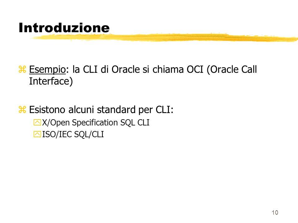 Introduzione Esempio: la CLI di Oracle si chiama OCI (Oracle Call Interface) Esistono alcuni standard per CLI: