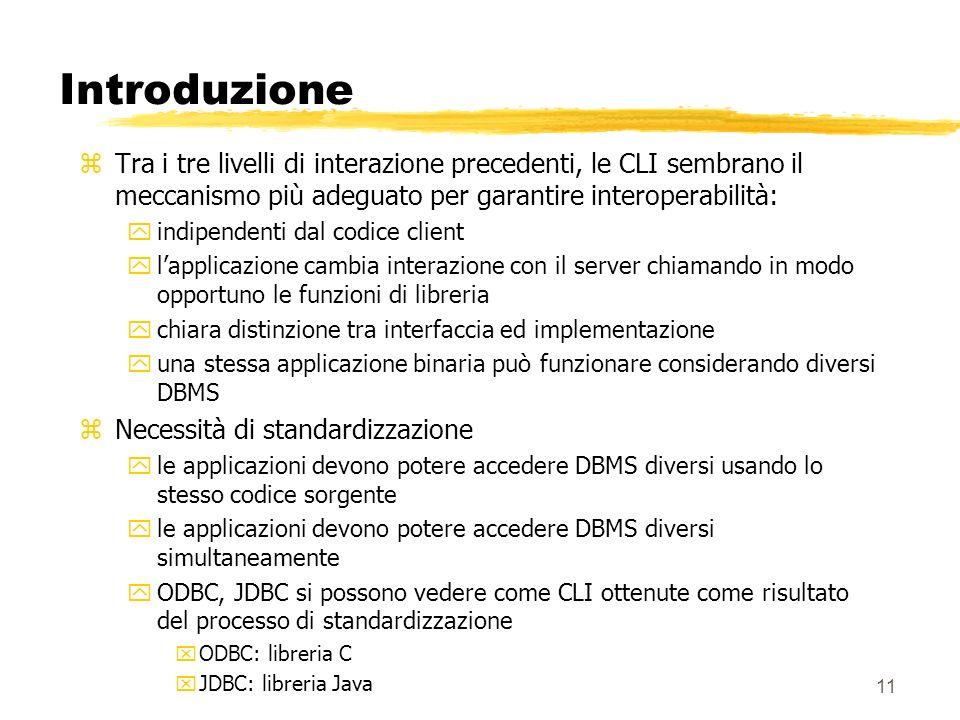 Introduzione Tra i tre livelli di interazione precedenti, le CLI sembrano il meccanismo più adeguato per garantire interoperabilità: