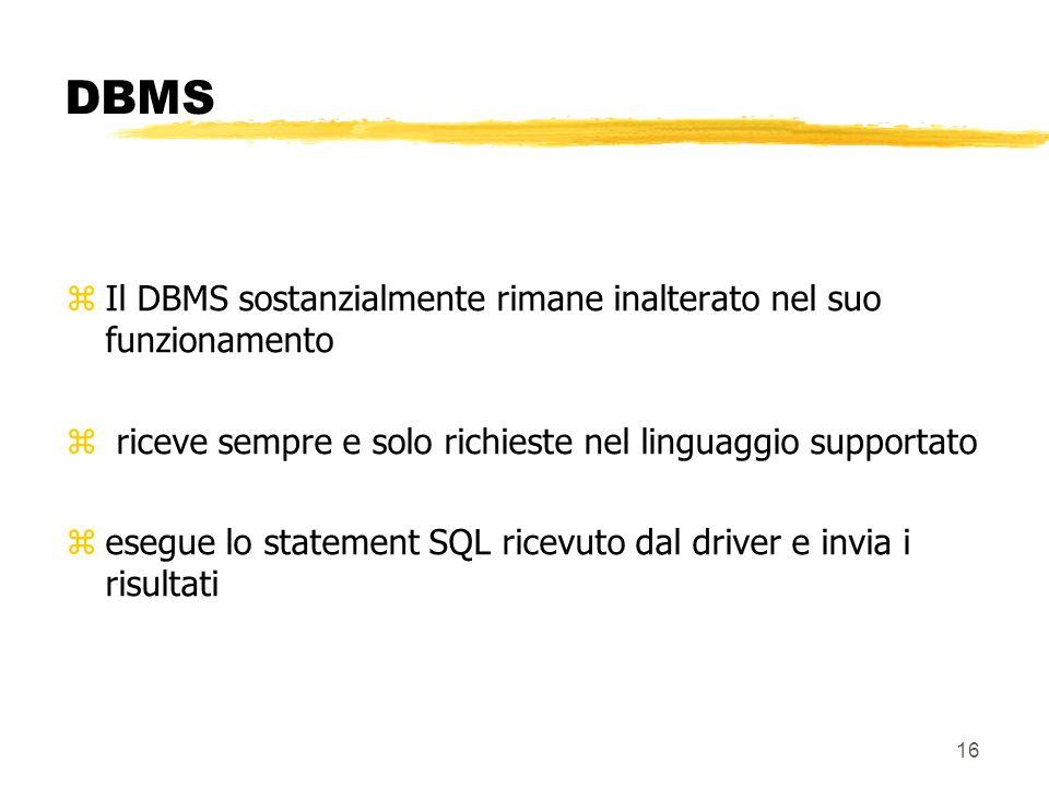 DBMS Il DBMS sostanzialmente rimane inalterato nel suo funzionamento