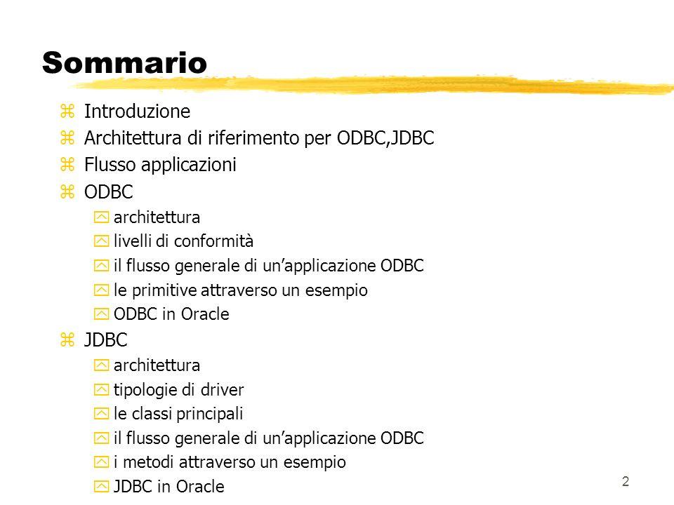 Sommario Introduzione Architettura di riferimento per ODBC,JDBC