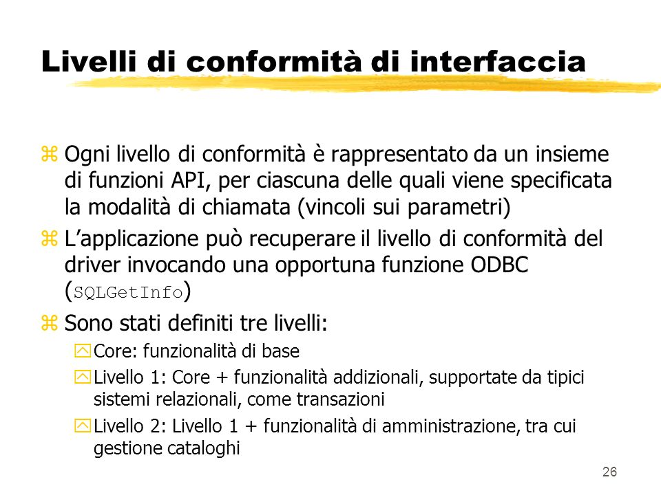 Livelli di conformità di interfaccia