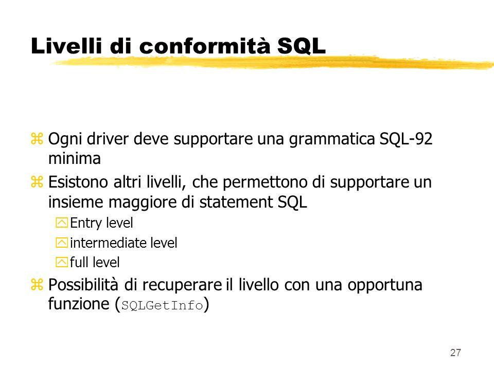Livelli di conformità SQL