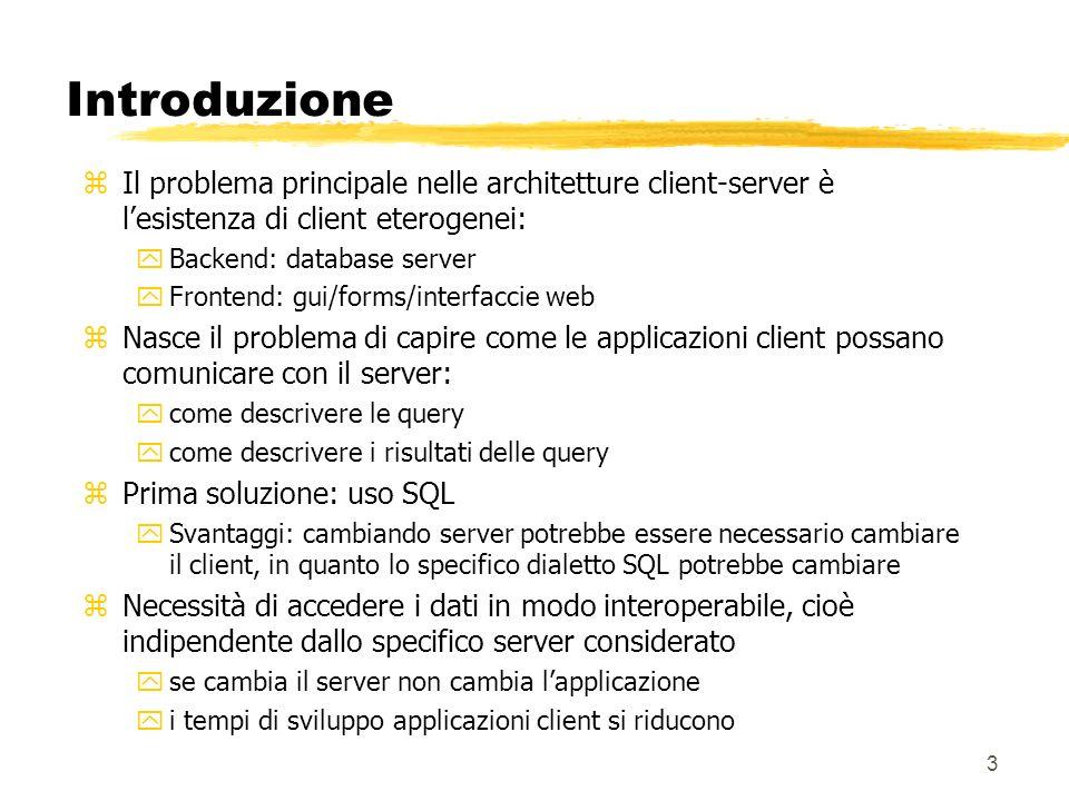 Introduzione Il problema principale nelle architetture client-server è l'esistenza di client eterogenei: