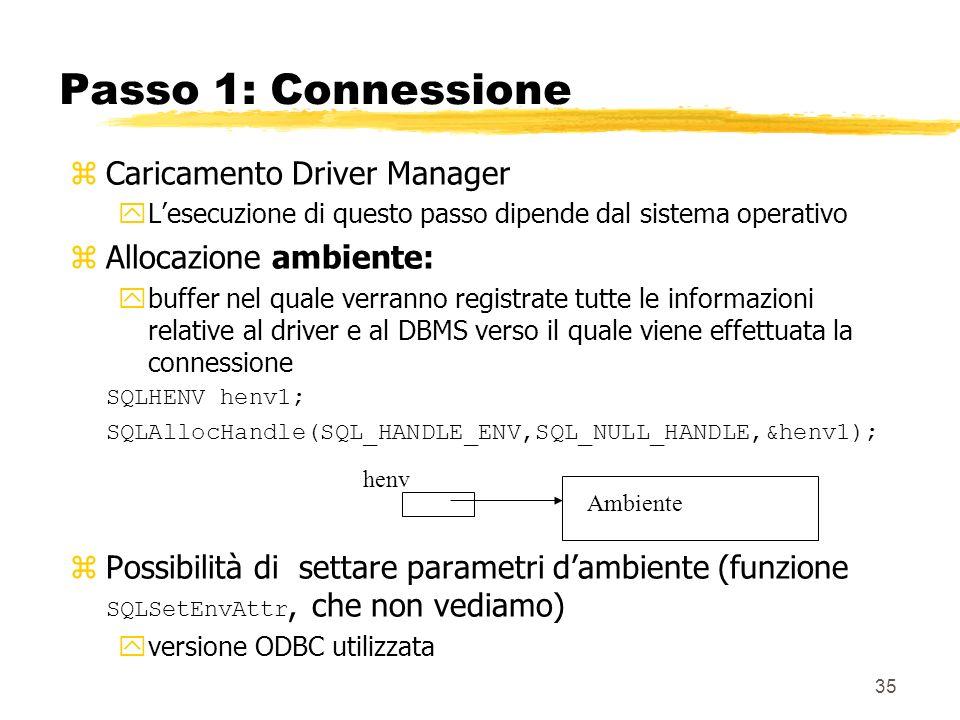 Passo 1: Connessione Caricamento Driver Manager Allocazione ambiente: