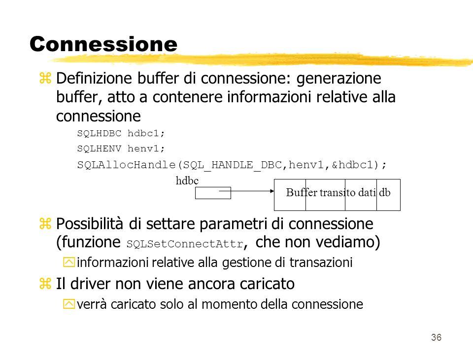 Connessione Definizione buffer di connessione: generazione buffer, atto a contenere informazioni relative alla connessione.