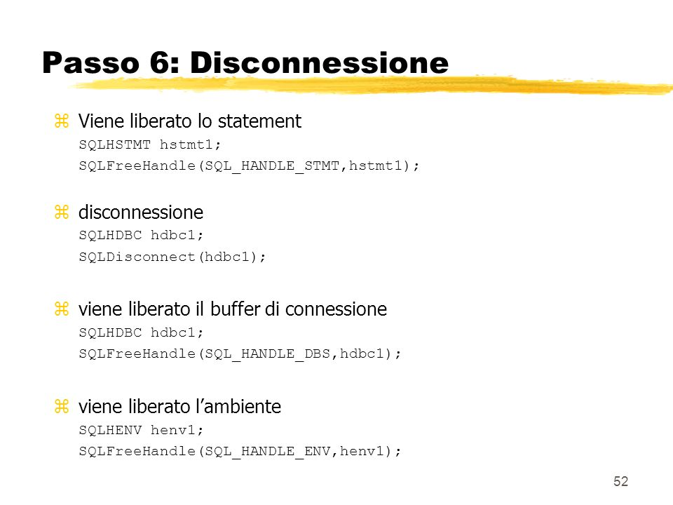 Passo 6: Disconnessione