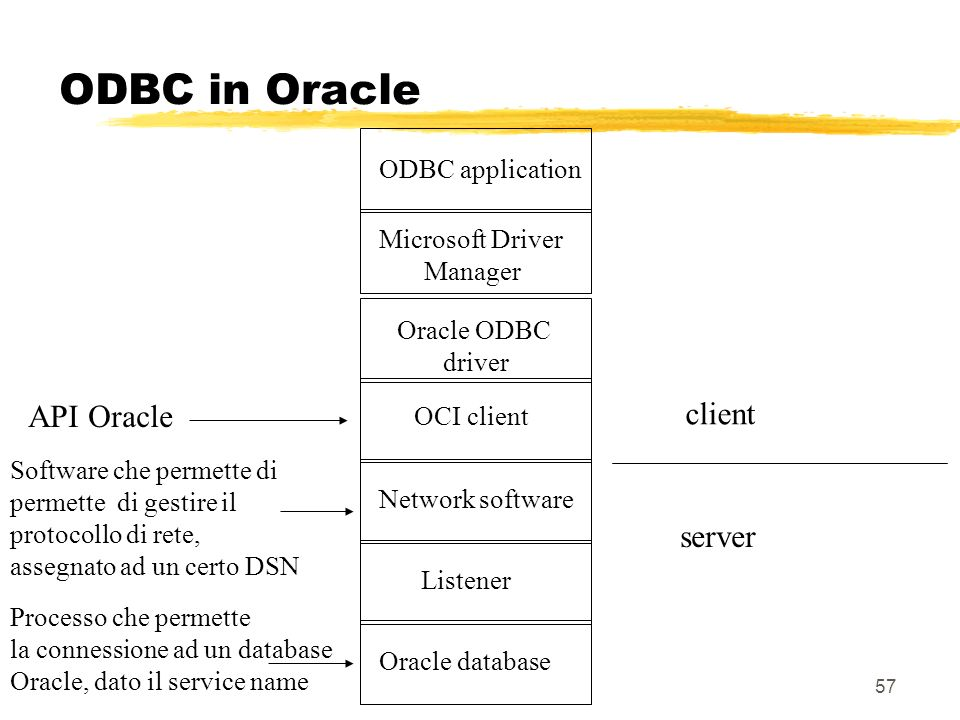 ODBC in Oracle API Oracle client server ODBC application