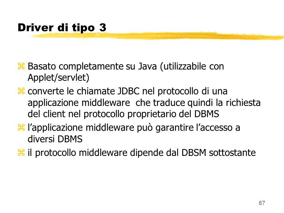 Driver di tipo 3 Basato completamente su Java (utilizzabile con Applet/servlet)
