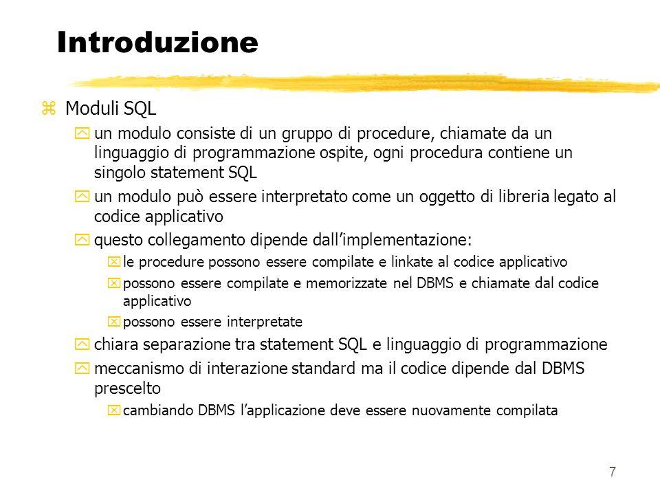 Introduzione Moduli SQL