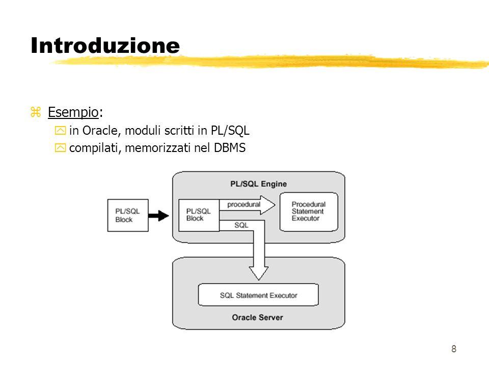Introduzione Esempio: in Oracle, moduli scritti in PL/SQL