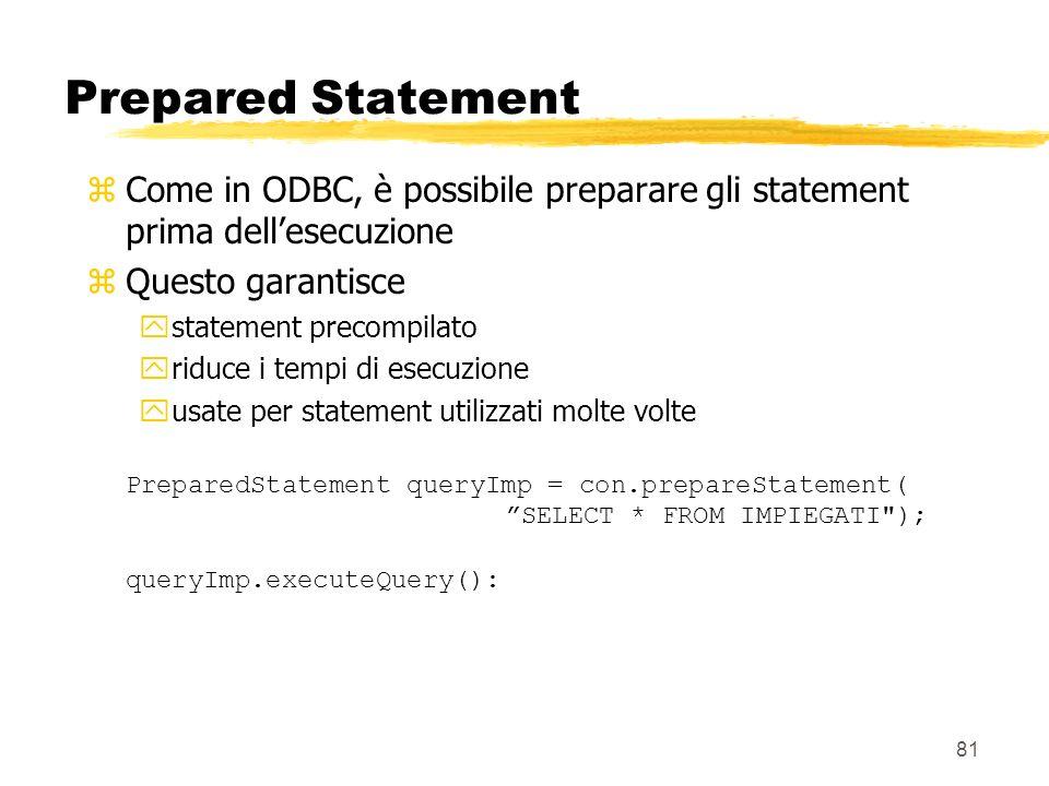 Prepared Statement Come in ODBC, è possibile preparare gli statement prima dell'esecuzione. Questo garantisce.