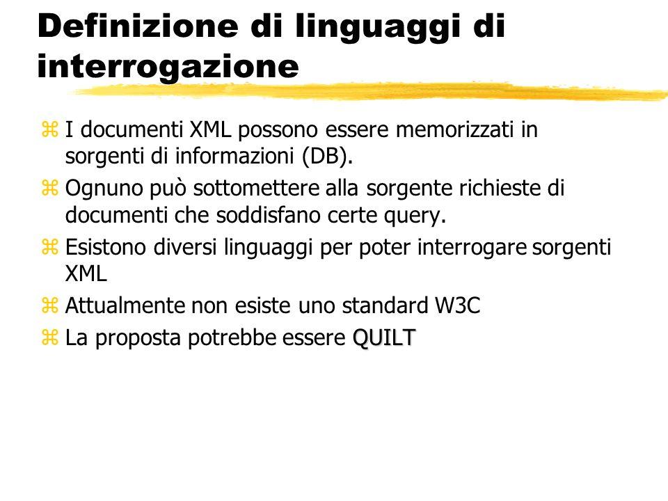 Definizione di linguaggi di interrogazione