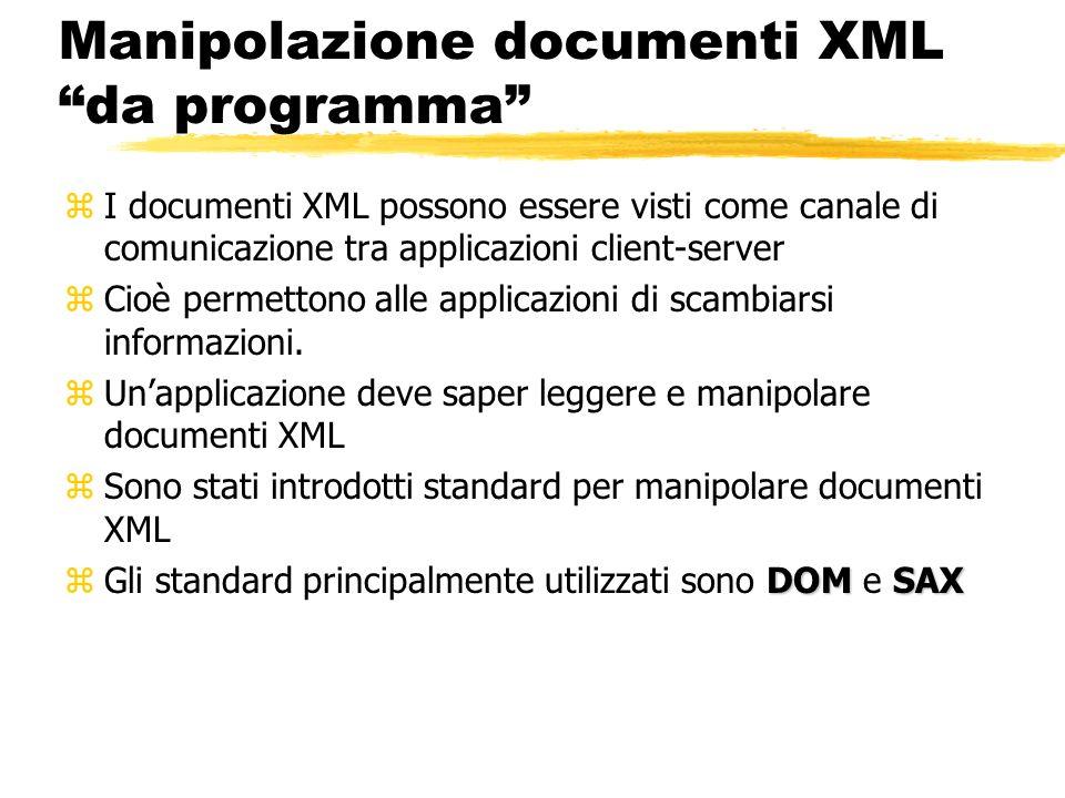 Manipolazione documenti XML da programma