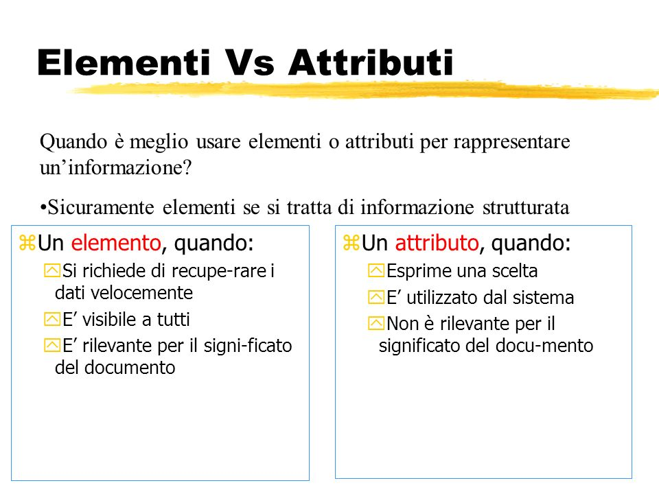 Elementi Vs Attributi Quando è meglio usare elementi o attributi per rappresentare un'informazione